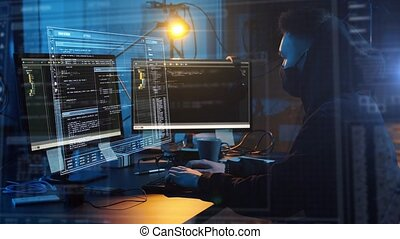 hacker in mask with computer making cyber attack -...