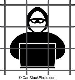 Hacker in prison - Hacker icon sits in jail on a white...