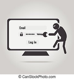 Hacker, Internet security concept. flat style vector ...