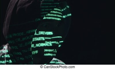 Hacker is hacking the cyberpolicy site. Black background -...