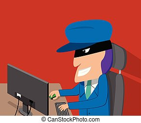 Hacker is happy while hacking by desktop computer