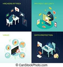 hacker, isometric, desenho, conceito