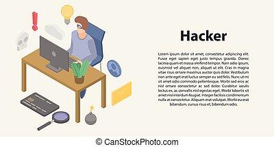 hacker, isometric, pojęcie, styl, chorągiew