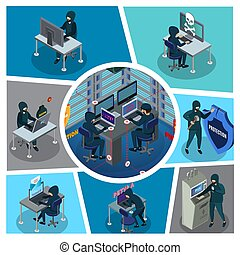 hacker, isometric, zenemű, elfoglaltság