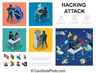 hacker, isometrico, infographic, sagoma, attività