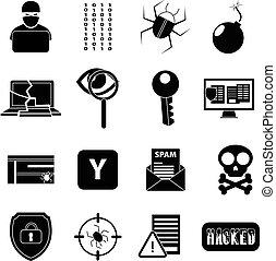 hacker, jogo, ícones