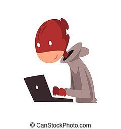 hacker, komputer, pracujący, ilustracja, laptop, przebranie, wektor, zbrodnia, internetowe bezpieczeństwo, technologia, rysunek