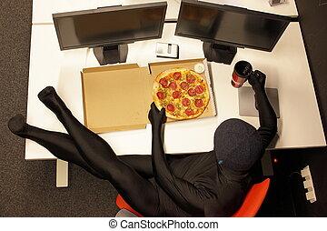 hacker, kontor, -, fasta, paus, hiva, måltiden, pizza