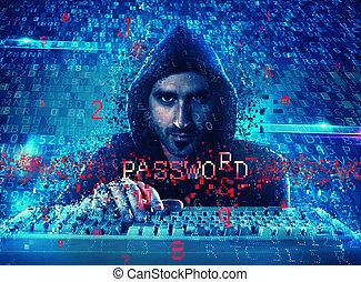 hacker, läsning, personlig, information., begrepp, av, privatliv, och, säkerhet