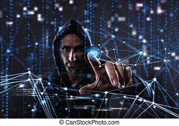 hacker, läsning, personlig, information., begrepp, av,...