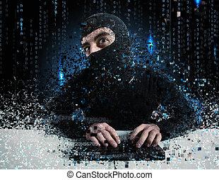 hacker, læsning, personlig, information., begreb, i, privatliv, og, garanti