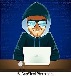 hacker, laptop, brottsling, cybernetiska