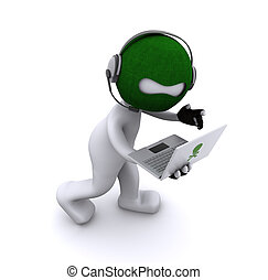 hacker, laptop, cartone animato