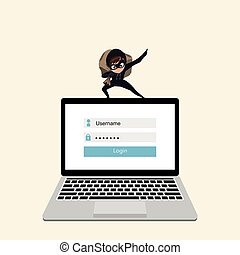 hacker, laptop, dati, steals