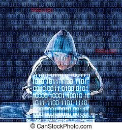 hacker, laptop, pisząc na maszynie