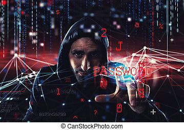hacker, leitura, pessoal, information., conceito, de, privacidade, e, segurança