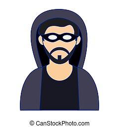 hacker, linhas azuis, máscara, avatar