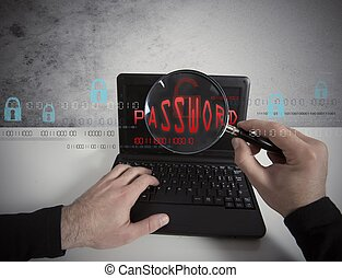 Hacker looking for a password in a laptop with lens