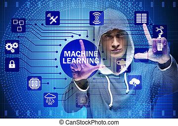 hacker, máquina, conceito, aprendizagem