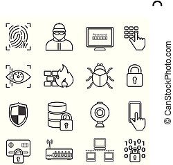 hacker, malware, ikony, ochrona, cyber, bezpieczeństwo, kreska, dane