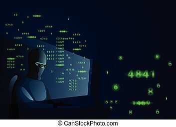 Hacker Man Behind Desktop Computer Night Attack And Data Security Concept
