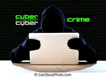 hacker, man, in, svart, huv, och, maskera, med, dator, laptop, dataintrång, system, in, digital, inkräktare, cybernetiska, brott, begrepp