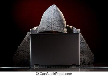 hacker, med, laptop