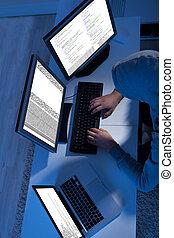 hacker, mehrfach, stehlen, computer, gebrauchend, daten