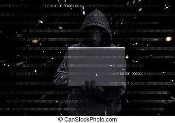 hacker, mit, vendetta, maske, tippen, auf, a, laptop