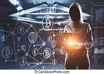 hacker, nein, blockchain, gesicht, digital, schnittstelle