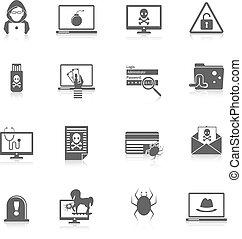hacker, nero, icone