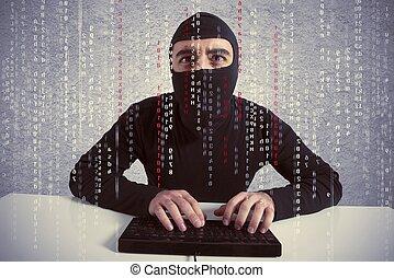 hacker, och, datavirus, begrepp