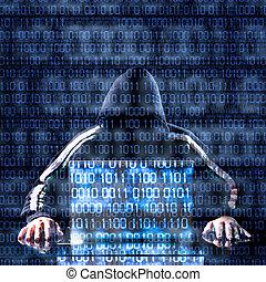 hacker, och, laptop, väntan, för, något