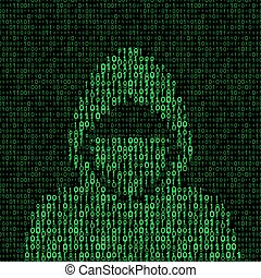 hacker on binary code background