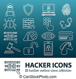 hacker outline icons
