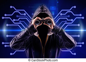 hacker - picture of an hacker with a spyglass