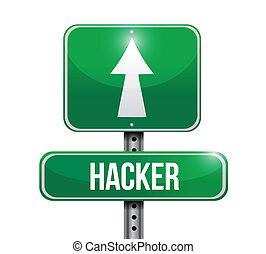 hacker, projektować, droga, ilustracja, znak