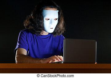 hacker, quarto escuro, sentando
