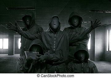 hacker, reputacja, zakapturzony, grupa, maska