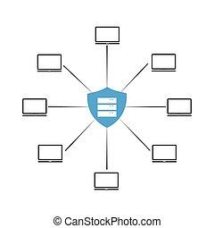 hacker, rete, protezione, attacks., contro, sicurezza computer