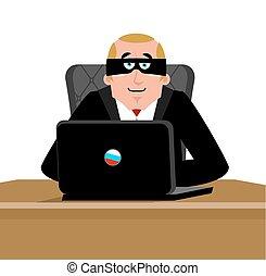 hacker., russische , computer, laptop., man, hacking, russia., cyber, crimineel, dief, database., masker