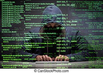 hacker, säkerhet, begrepp, data, ung