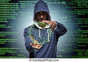 hacker, segurança, conceito, jovem, cyber