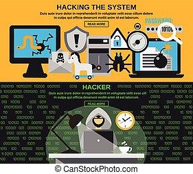 hacker, set, bandiera