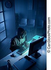 hacker, stöld, data, från, dator