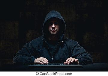 hacker, stöld, på, internet