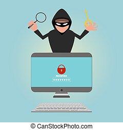 hacker, stöld, sensitiv, data, lösenord, från, a, persondator
