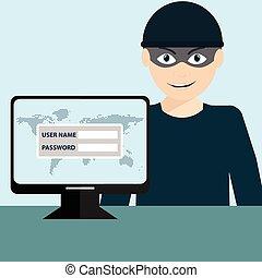hacker, stöld, sensitiv, data, som, lösenord, från, a, persondator