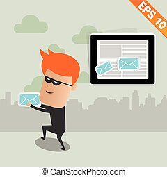 Hacker steal email - Vector illustration - EPS10