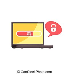 Hacker stealing confidential data from hacked computer,  cyber crime cartoon vector Illustration